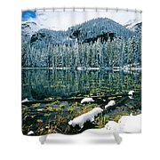 Early Snow At Nymph Lake Shower Curtain