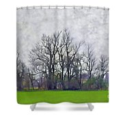 Early Spring Landscape  Digital Paint Shower Curtain