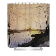 Early Winter Riverside Shower Curtain