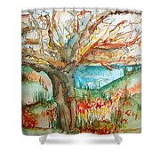 Early Winter Tree Shower Curtain