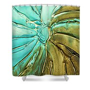 Aqua Teal Brown Organic Abstract Art Shower Curtain