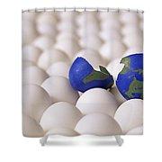 Earth Egg Torn Apart Shower Curtain
