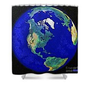 Earth From Space America Shower Curtain