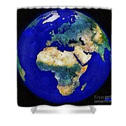 Earth From Space Europe And Africa Shower Curtain