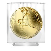 Earth In Gold Metal Isolated On White Shower Curtain