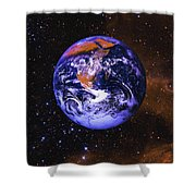 Earth In Space With Gaseous Nebula And Shower Curtain