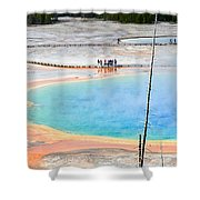 Earth Rainbow - Overhead View Of Grand Prismatic Spring In Yellowstone National Park.  Shower Curtain