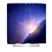 Earth Sunrise In Foggy Space Shower Curtain by Johan Swanepoel