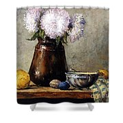 Earthen Pot With Chrysanthemums Shower Curtain