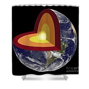Earths Core, Illustration Shower Curtain