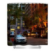 East 44th Street - Rhapsody In Blue And Orange - Close View Shower Curtain