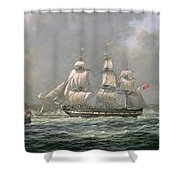 East Indiaman Hcs Thomas Coutts Off The Needles     Isle Of Wight Shower Curtain by Richard Willis