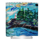 Campobello Lighthouse Abstract Shower Curtain