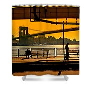 East River Sunset Shower Curtain