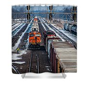 Eastbound And Westbound Trains Shower Curtain