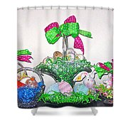 Easter Baskets In A Row  Shower Curtain