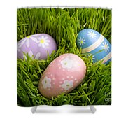 Easter Eggs In The Grass Shower Curtain