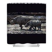 Eastern Black Rhinos Mama N Baby Shower Curtain