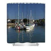 Eastern Side Moorings - Ryde Harbour Shower Curtain