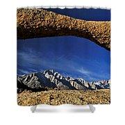 Eastern Sierra Nevada Mountains Lathe Arch Shower Curtain