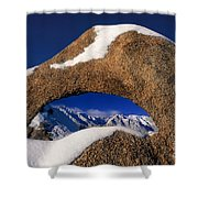 Eastern Sierras Through Snow Covered Arch Shower Curtain