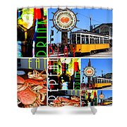 Eat Drink Play Repeat San Francisco 20140713 Vertical V2 Shower Curtain