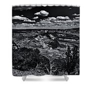 Echo Park From The Ridge Black And White Shower Curtain