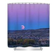 Eclipse Moonrise At Writing-on-stone Shower Curtain