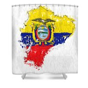 Ecuador Painted Flag Map Shower Curtain