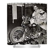 Eddie Davenport Of Tulare California On A Motorcycle Hollister  July 7 1947 Shower Curtain