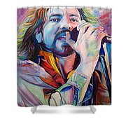 Eddie Vedder In Pink And Blue Shower Curtain by Joshua Morton