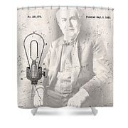 Edison And Electric Lamp Patent Shower Curtain