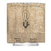 Edison Electric Lamp Patent Marble Shower Curtain