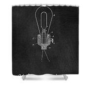 Edison Light Bulb Patent Art Chalkboard Shower Curtain