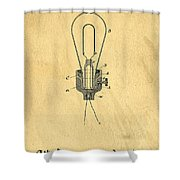 Edison Light Bulb Patent Art Shower Curtain