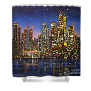 Edmonton Night Lights Shower Curtain