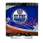 Edmonton Oilers Christmas Shower Curtain