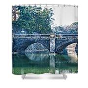 Edo Castle And Nijubashi Bridge Shower Curtain