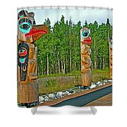 Edward Smarch Totem Poles At Teslin Tlingit Heritage Memorial Center In Teslin-yt Shower Curtain