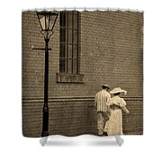 Edwardian Couple Walking On A Cobbled Street Shower Curtain