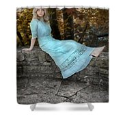 Edwardian Girl On A Stone Wall Shower Curtain