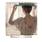 Edwardian Woman Adjusting Her Hat  Shower Curtain