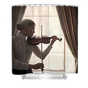 Edwardian Woman Playing Violin At The Window Shower Curtain