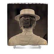Edwardian Woman With Straw Boater Rear View Shower Curtain