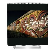Berlin Wall Hearts Shower Curtain