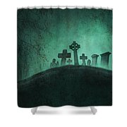 Eerie Graveyard At Night In Fog Shower Curtain