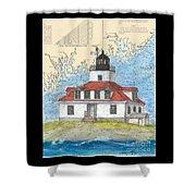 Egg Rock Lighthouse Me Nautical Chart Map Art Shower Curtain
