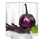 Eggplant Tomatillos And Beans Shower Curtain