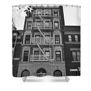 Egress Building In Black And White Shower Curtain