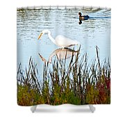 Egret And Coot In Autumn Shower Curtain